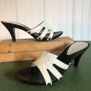 Fendi Embossed Leather & Wood Sole Mules/Heels